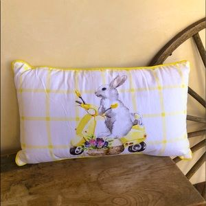 EASTER PILLOW Bunny Riding Scooter Beaded Flowers